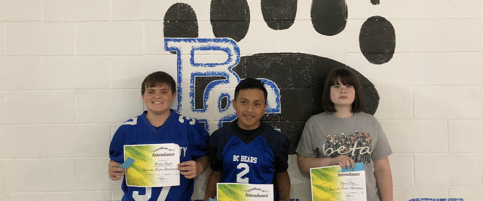 September Perfect Attendance Drawing Winners