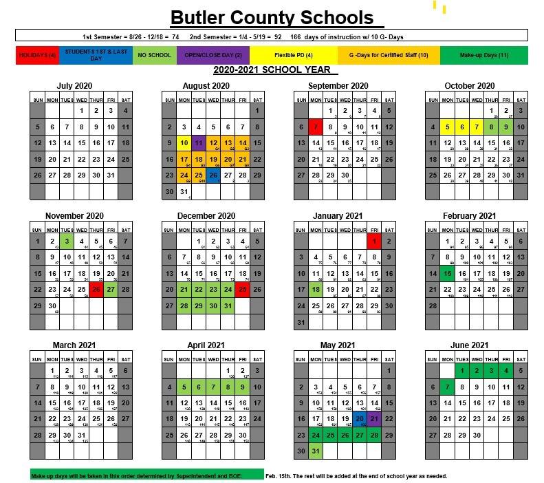 Wku Academic Calendar 2022.2020 21 Sy Calendar Butler County High School