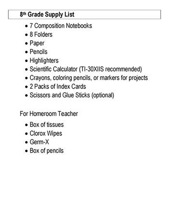 School Supply Lists Butler County Middle School